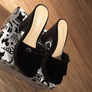 Black velvet clog heels